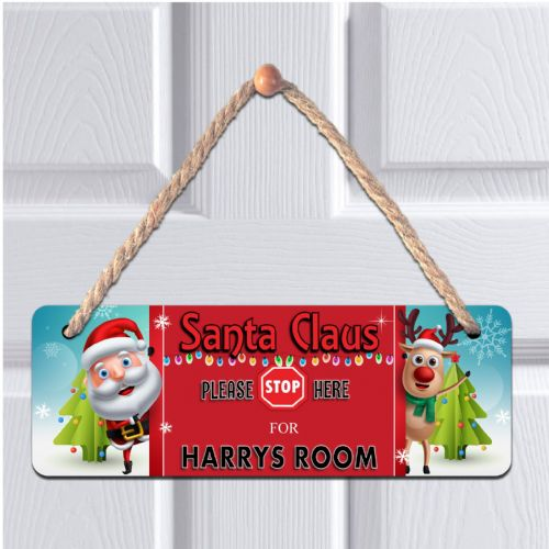Personalised ANY NAME Children's Bedroom Christmas Santa Stop Hanging Door Plaque N4